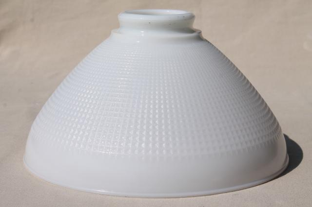 Vintage White Glass Diffuser Replacement Shade, Large Lamp Shade Reflector  Waffle Milk Glass