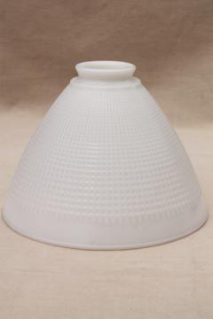 vintage white glass diffuser shade, lamp shade reflector waffle milk glass