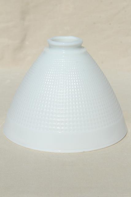 vintage white glass diffuser shade, replacement lamp shade reflector waffle milk glass