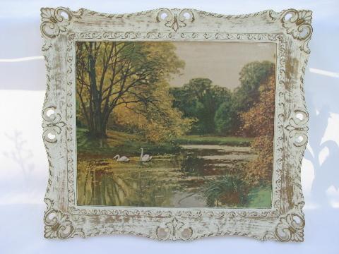 Vintage White Gold Rococo Plastic Frames 60s Landscape Prints