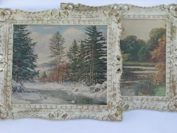 vintage white & gold rococo plastic frames, 60s landscape prints