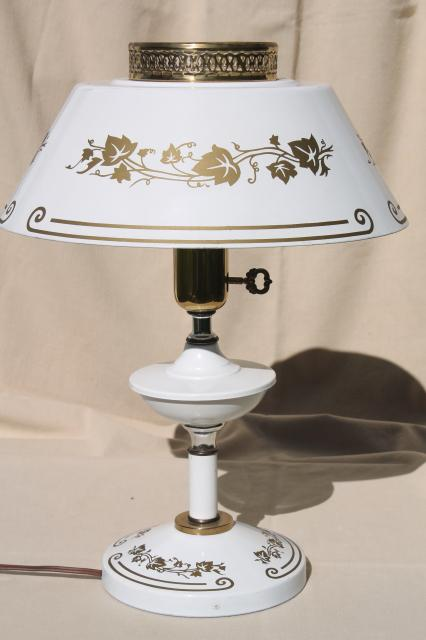vintage white & gold tole table lamp with milk glass reflector & metal shade