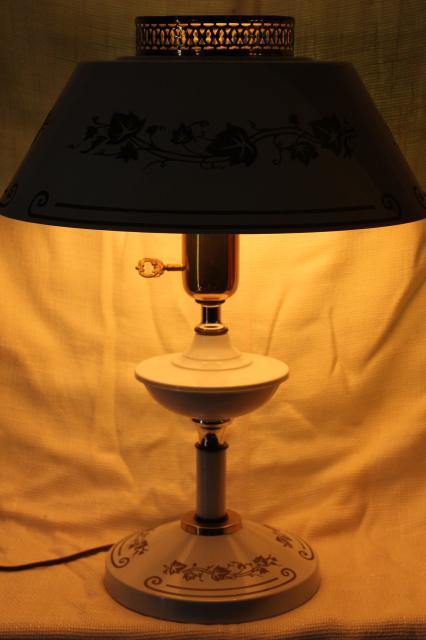 Vintage White Amp Gold Tole Table Lamp With Milk Glass