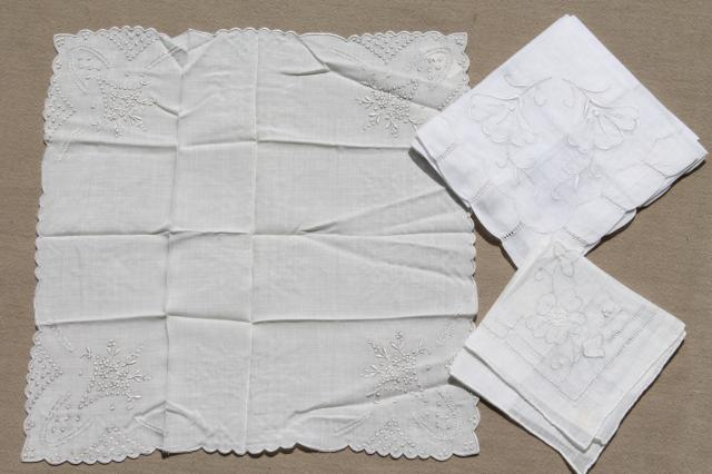 vintage white hankies lot, fine cotton & linen handkerchiefs Madeira style embroidery
