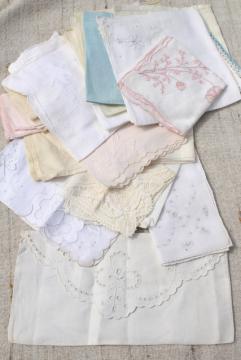 vintage white hankies lot, fine cotton & linen handkerchiefs Swiss & Madeira style embroidery