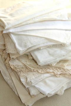 vintage white hankies lot, fine cotton & linen lace edged handkerchiefs Madeira & Swiss embroidery