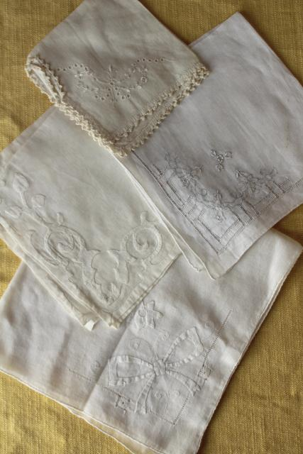 vintage white hankies lot, fine cotton & linen lace edged handkerchiefs Madeira and Swiss embroidery