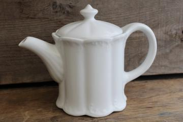 vintage white ironstone china coffee or tea pot, oval shape w/ embossed pattern