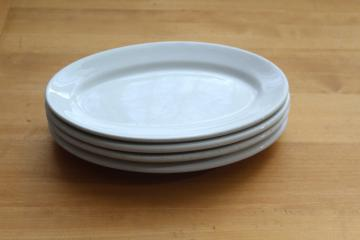 vintage white ironstone china restaurant ware, stack of oval steak plate platters