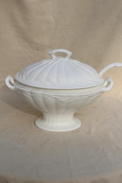 Vintage White Ironstone China Soup Tureen Embossed Wheat