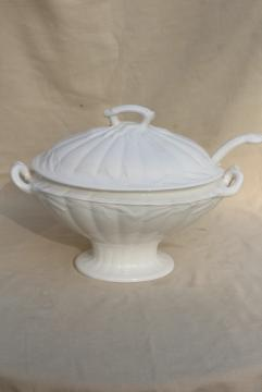 vintage white ironstone china soup tureen, embossed wheat old English Staffordshire