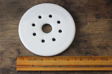 vintage white ironstone china strainer, round drainer plate, butter or cheese dish insert