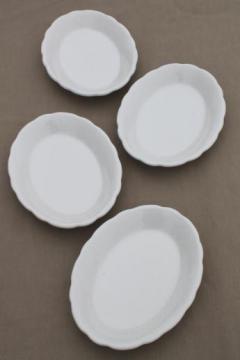 vintage white ironstone oval plates, Buffalo china restaurantware platter plates set