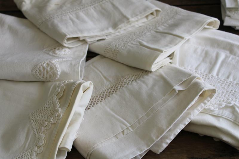 vintage white lace trimmed cotton pillowcases, lot of linens for upcycle sewing projects