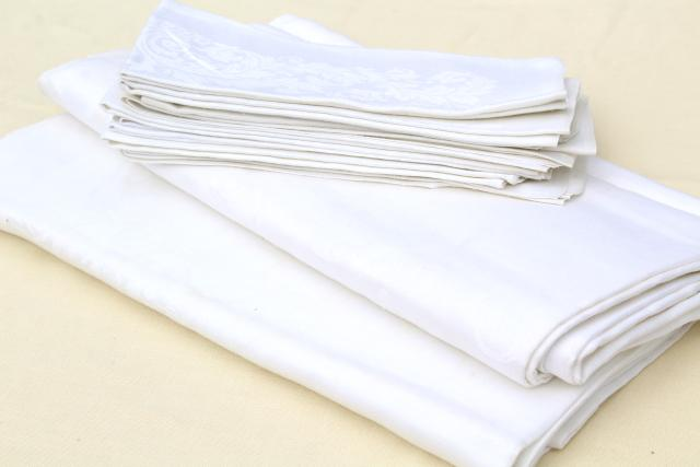 vintage white linen damask tablecloths & napkins, including one banquet tablecloth