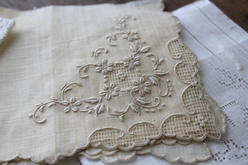 vintage white linen hankies w/ Madeira embroidery fancywork lace edging
