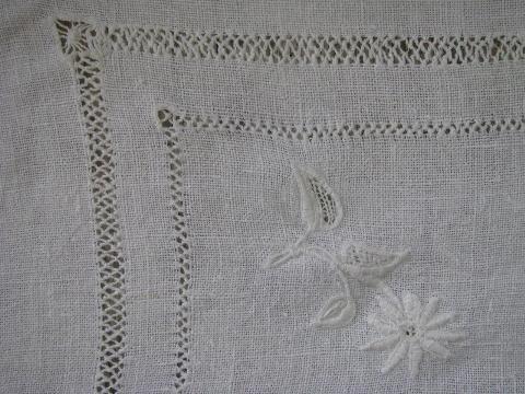 Vintage White Linen Tablecloths W/ Drawn Thread, Antique Redwork Monogram