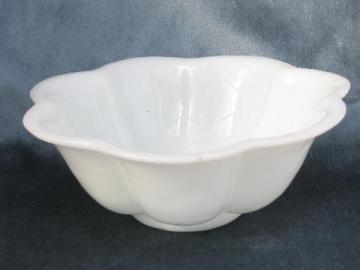 vintage white milk glass bowl, antique ironstone china petal shape