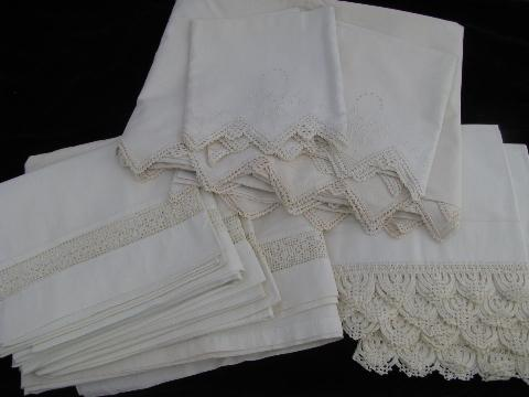 Vintage White On White Bed Linens Lot, Antique Pillowcases / Sheets, Eyelet  U0026 Crochet Lace