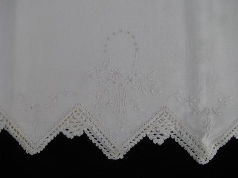 Vintage White On White Bed Linens Lot Antique Pillowcases