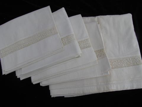 vintage white on white bed linens lot, antique pillowcases / sheets, eyelet & crochet lace