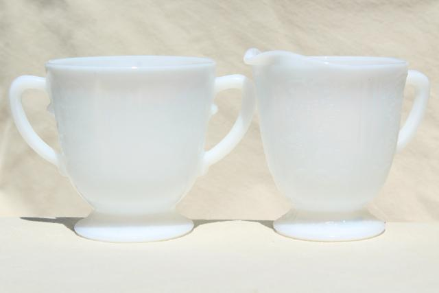 vintage white opalescent milk glass cream & sugar, American Sweetheart Monax depression glass