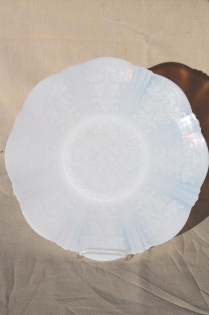 White Opalescent Glass : Vintage white opalescent milk glass serving plate