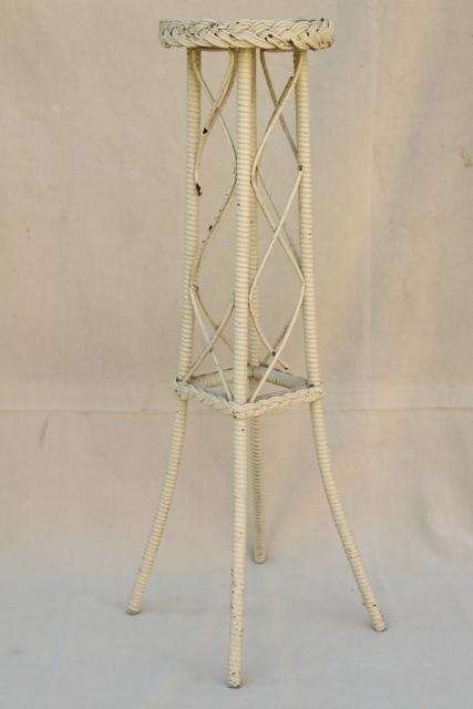 vintage white wicker fern stand, tiny plant table shabby cottage chic