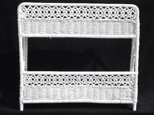 Vintage White Wicker Shelves Wall Mount Shelf For Bed Or Bathroom