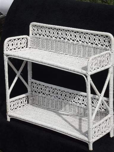 Vintage White Wicker Shelves Wall Mount Shelf For Bed Or