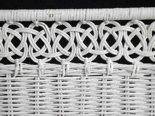 Vintage white wicker shelves wall mount shelf for bed or - White wicker bathroom accessories ...