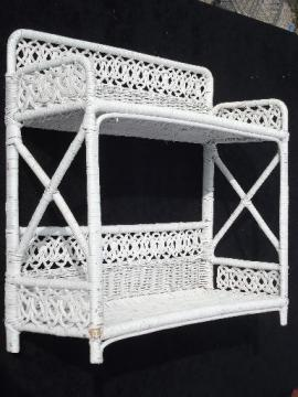 vintage white wicker shelves, wall mount shelf for bed or bathroom