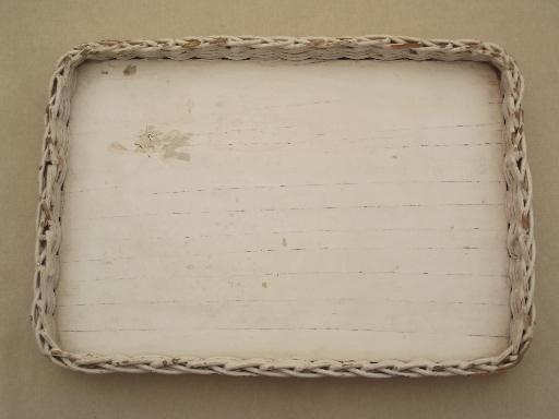 vintage white wicker tray, shabby cottage perfume tray for vanity table