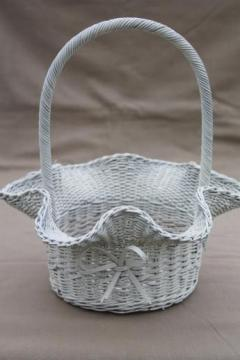vintage white wicker wedding flower basket, brides basket or for a flower girl
