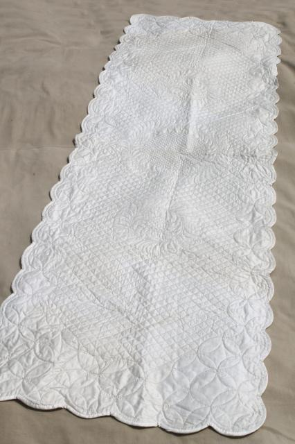 Lovely Vintage Whitework Elaborately Quilted All White Cotton Wholecloth Table  Runner