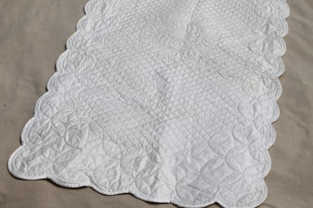 Elegant Vintage Whitework Elaborately Quilted All White Cotton Wholecloth Table  Runner
