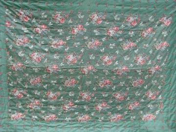vintage whole cloth quilt comforter, jade green cotton floral print fabric