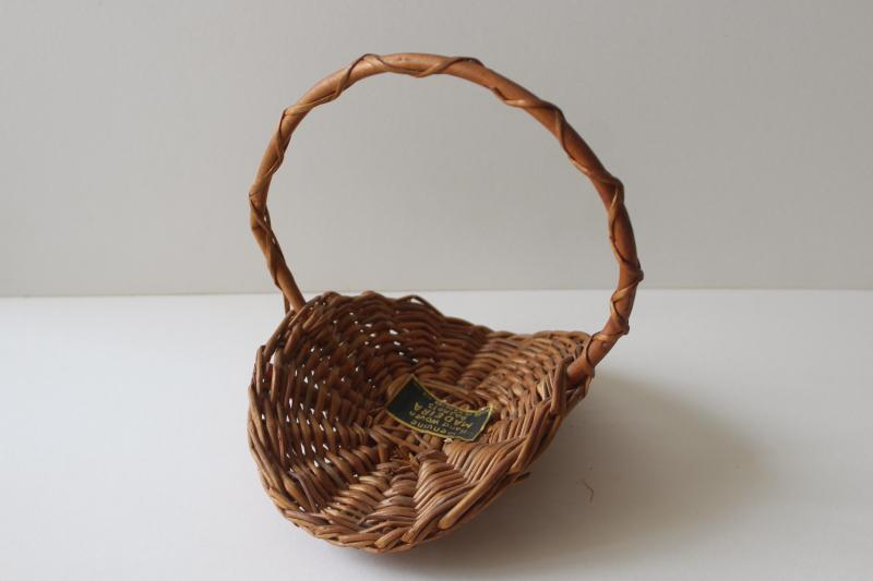 vintage wicker Easter basket made in Madeira label, tiny flower trug doll size