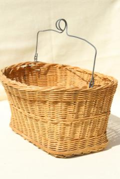 vintage wicker bike basket or clothespins basket w/ wire hanger for wash line