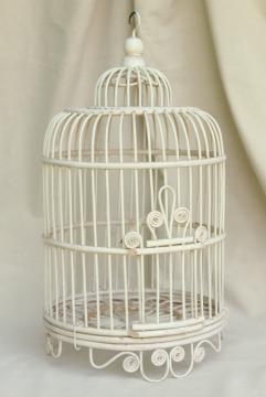 vintage wicker birdcage w/ old white paint, rattan basket weave bird cage plant hanger
