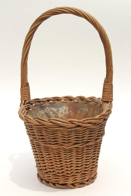 vintage wicker flower basket w/ original old zinc metal liner planter pot