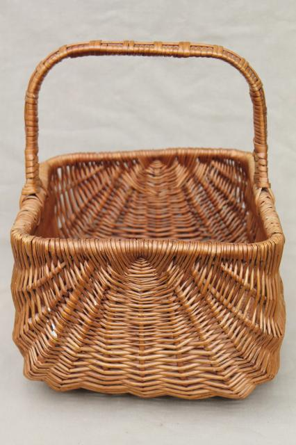 Gathering Basket Making Materials : Vintage wicker market basket big old primitive gathering