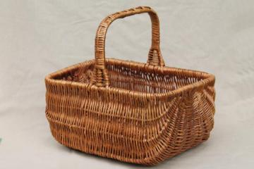 vintage wicker market basket, big old primitive gathering basket