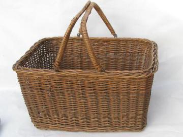 vintage wicker market basket, open picnic hamper w/ handles