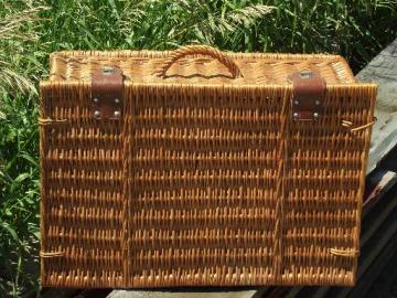 vintage wicker picnic basket, suitcase hamper w/ faux leather clasps
