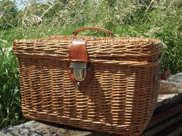 vintage wicker picnic basket, suitcase hamper w/ faux leather handles
