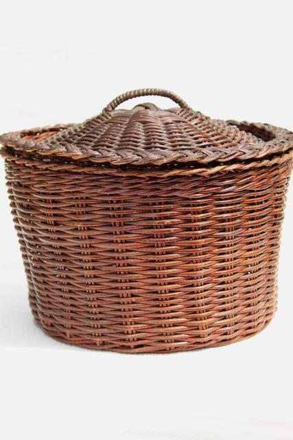 Vintage wicker sewing basket primitive old round bucket shape hamper w lid - Round wicker hamper with lid ...