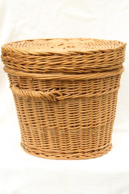 vintage wicker sewing basket / storage h&er flat table top round basket for needlework & vintage wicker sewing basket / storage hamper flat table top round ...
