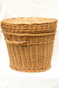 vintage wicker sewing basket / storage hamper, flat table top round basket for needlework