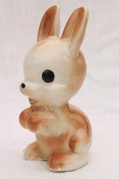 vintage wide eyed bunny rabbit ceramic figurine, 1950s Fine Enterprises